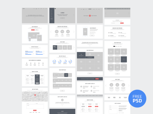 One page website wireframe kits de ui dribbble freebie