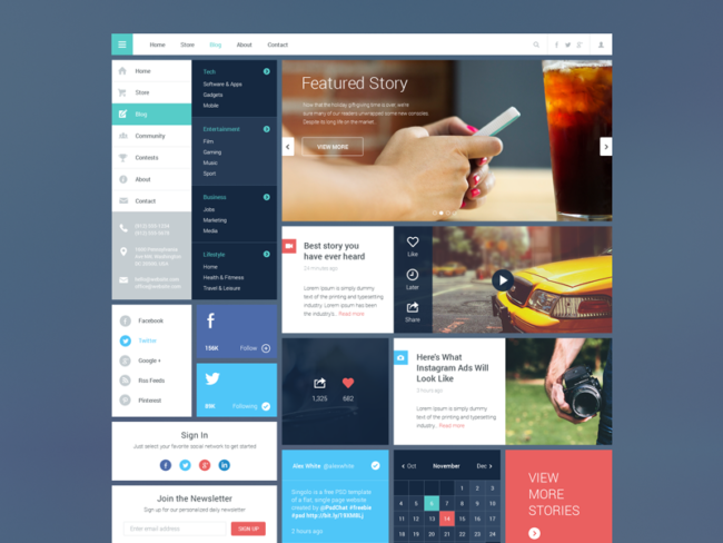 blog magazine dribbble freebie kits de ui