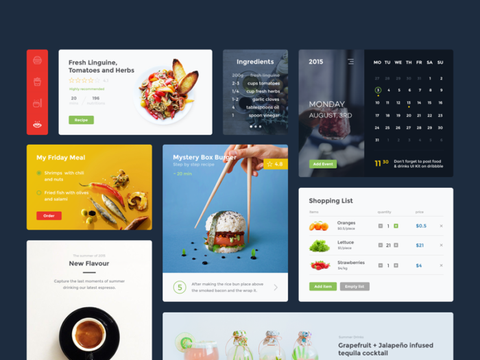 food and drink kits de ui dribbble freebie