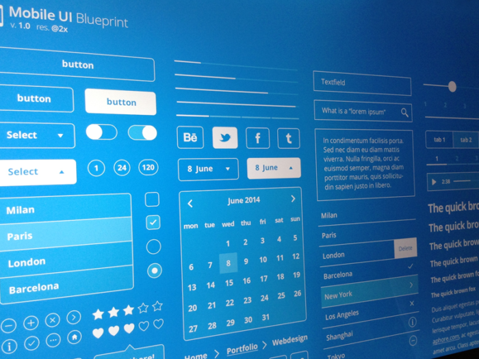 Mobile UI Blueprint kits de ui dribbble freebie