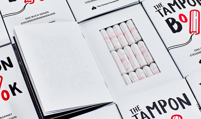 Packaging creativo de tampones The Tampon Book The Female Company 01