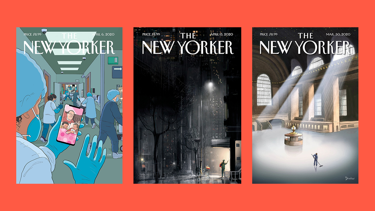 Portadas de The New Yorker de Chris Ware, Pascal Campion y Eric Drooker.
