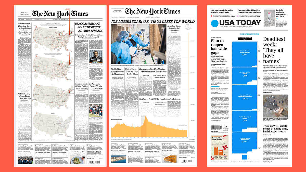 Dos portadas de The New York Times y una de USA Today.