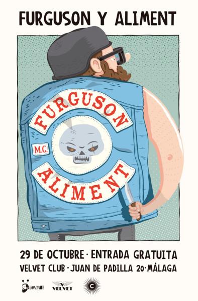 Cartel para concierto de Furguson y Aliment. Obra de Abrazos Cósmicos.
