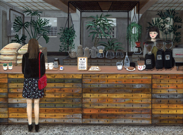 Cafetería, pintura de Moon Paige