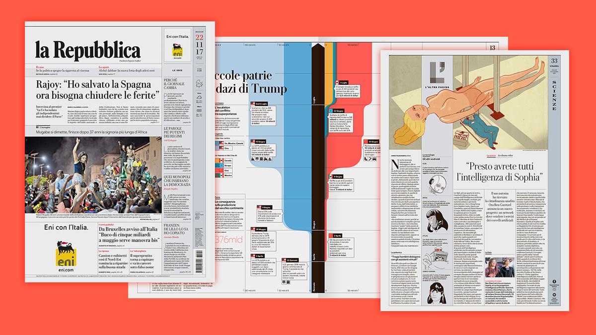 Algunas páginas del periódico 'La Repubblica' con el nuevo rediseño.