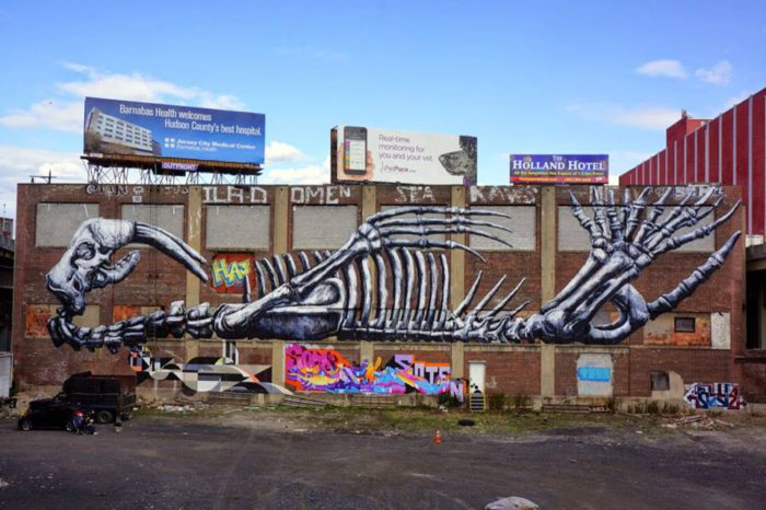 ROA street art graffiti animal bones belgium belgica