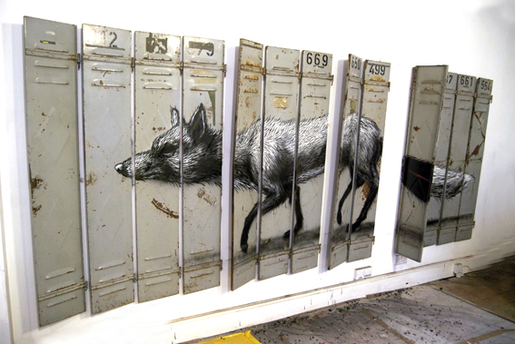 ROA street art graffiti animal bones brooklyn instalation