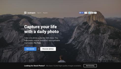 interfaz de la red social tookapic